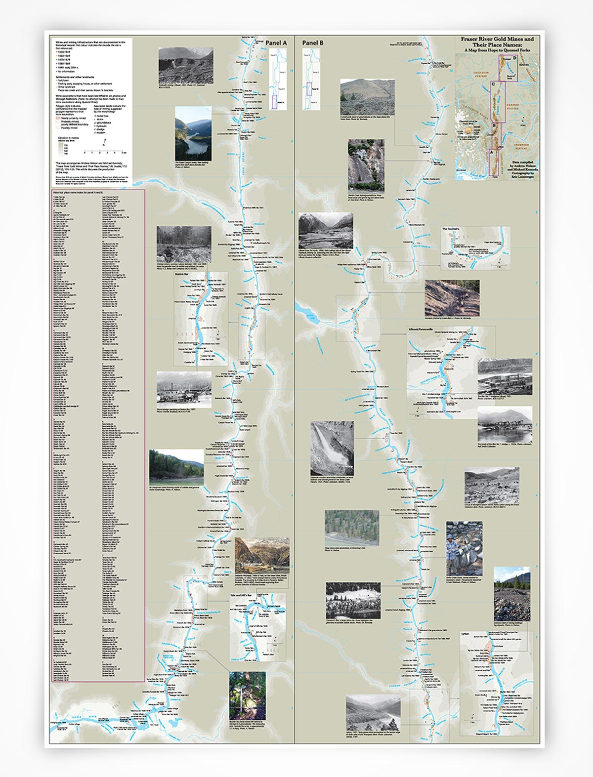 Map: Fraser River Gold Mines and their Place Names